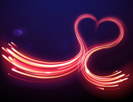 illustration of red abstract background with blurred magic heart shape neon light lines