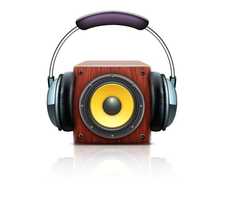 illustration of cool sound loud speaker with detailed headphones Vector