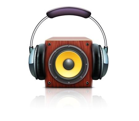 surround: illustration of cool sound loud speaker with detailed headphones Illustration