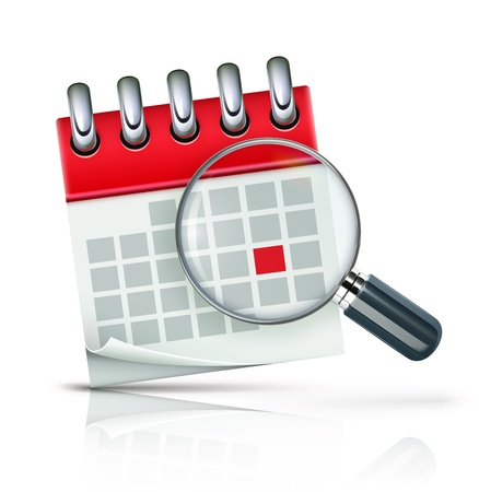 magnification icon: illustration of search concept with calendar icon and magnifying glass