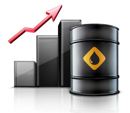 risico analyse: illustratie van black metal olievat met financiën grafiek en een rode pijl die een verhoging van de benzine consumptie of stijging van de prijs van olie Stock Illustratie