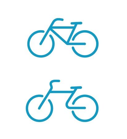 saludable logo: ilustraci�n de los iconos de bicicletas simples