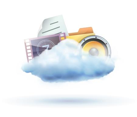 uploading: illustrazione dei mezzi di nuvole fredde a base di condivisione concetto di icona Vettoriali