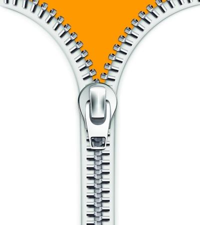 ilustración de lo cool detallada cremallera abierta blanco metálico Ilustración de vector