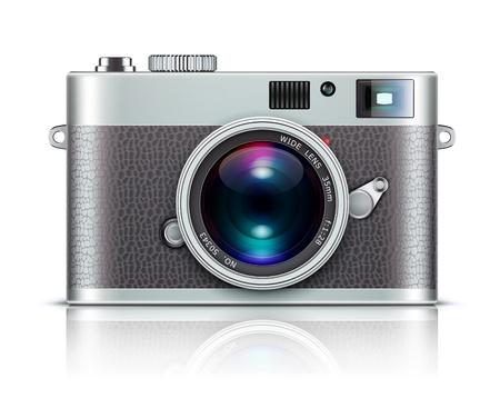 reflex: Illustrazione vettoriale di un'icona dettagliata che rappresenta fotocamera stile retr�