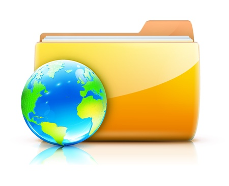 Vector illustration of global sharing concept icon yellow folder and glossy globe  Stock Vector - 13183554