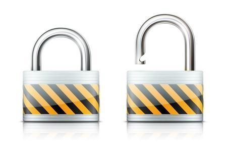 to lock: Illustrazione vettoriale di concetto di sicurezza con lucchetto bloccato e sbloccato