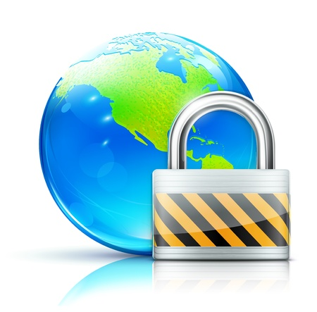 pad lock: Vector illustration of global security concept with locked pad lock and cool glossy globe showing the Americas