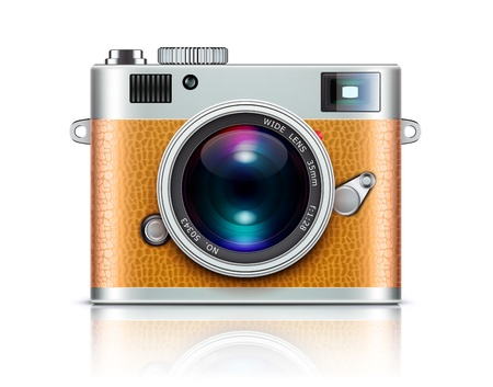 photograph: Vector illustration of detailed icon representing retro style camera