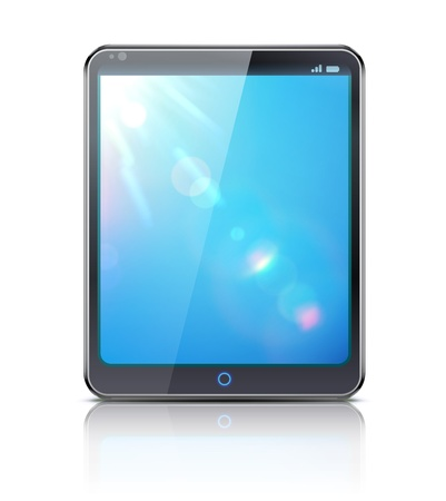 touch sensitive: Vector illustration of classy tablet PC with blue screen on white background