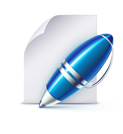contract documents: Vector illustration of  funky elegant ballpoint pen with paper page