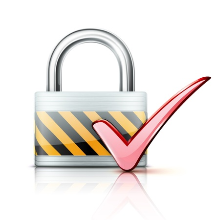 locked: Vector illustration of security concept with locked pad lock and red check mark icon