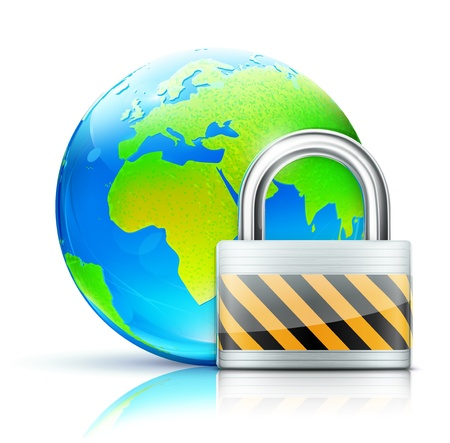 Vector illustration of global security concept with locked pad lock and cool glossy globe showing Europe and Africa Stock Vector - 13234725
