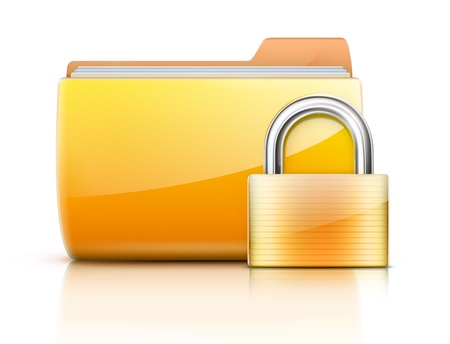 Vector illustration of security concept with yellow folder and locked pad lock Vector