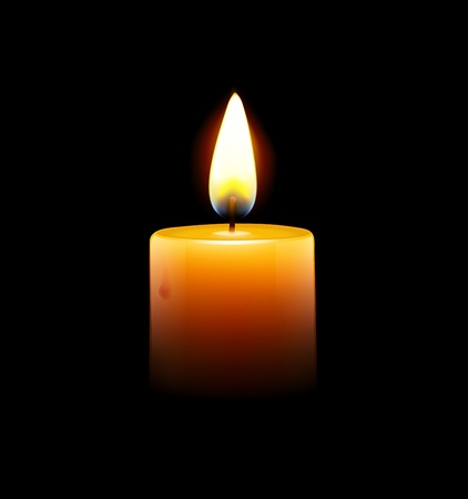 hope symbol of light: Vector illustration of yellow candle on black background