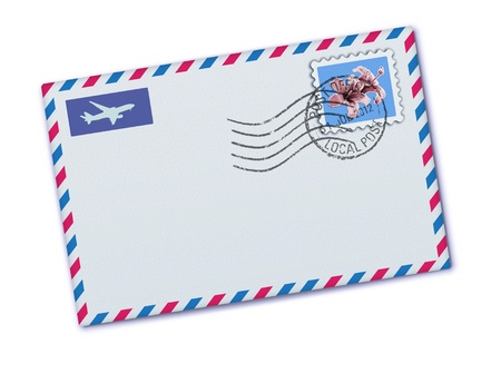rubber stamp: Vector illustration of blank airmail envelope with stamp and rubber stamp Illustration