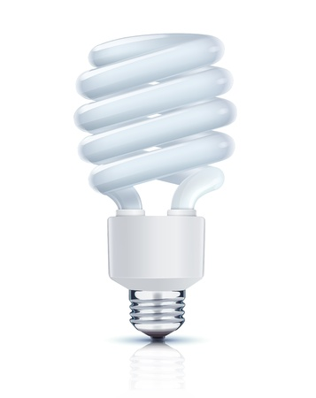 compact fluorescent lightbulb: Vector illustration of classy energy saving compact fluorescent lightbulb on a white background