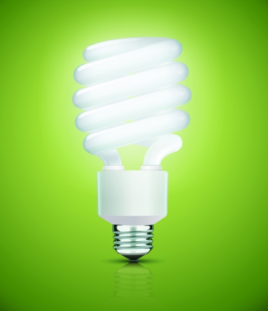 compact fluorescent lightbulb: Vector illustration of classy energy saving compact fluorescent lightbulb on a green background