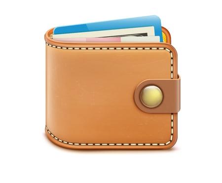 creditcard: Ilustraci�n vectorial de la cartera cerrada realista con billetes y tarjetas de cr�dito en un fondo blanco