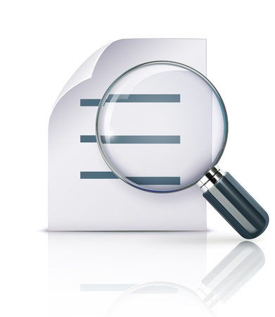magnification icon: Vector illustration of search concept with office paper notes and magnifying glass