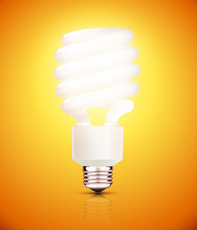 compact fluorescent lightbulb: Vector illustration of classy energy saving compact fluorescent lightbulb on a orange background