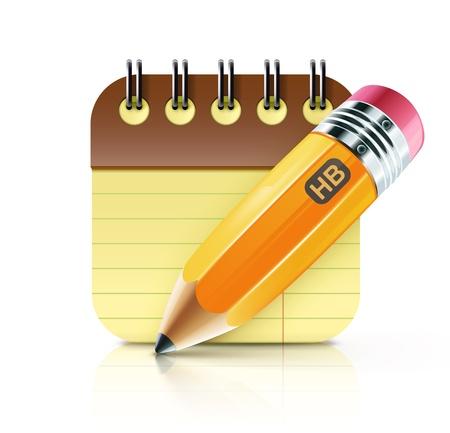 lapiz y papel: Ilustración vectorial de un lápiz afilado grasa amarilla con el cuaderno espiral envolvente Vectores