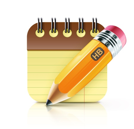 Vector illustratie van geslepen vet geel potlood met spoel gebonden notebook