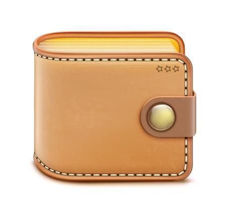 empty pocket: Ilustraci�n vectorial de la cartera cerrada realista sobre un fondo blanco