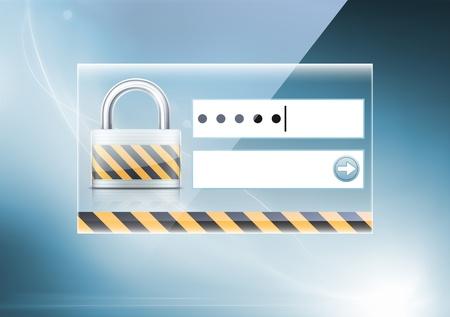 password: Ilustraci�n vectorial de un suave fondo de color abstracto con el concepto de seguridad inform�tica Vectores
