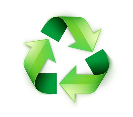 plastic recycling: Vector illustration of green recycling symbol isolated on white background