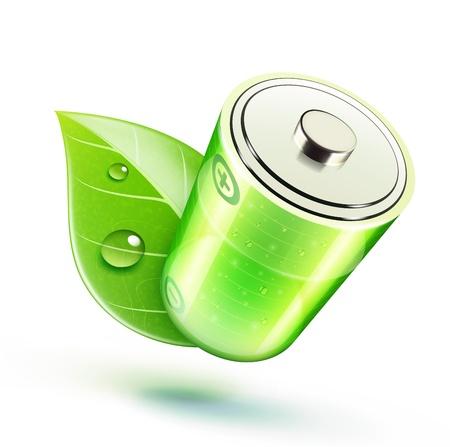 bateria: Ilustración vectorial de icono de la ecología concepto con la batería y brillante hoja verde Vectores