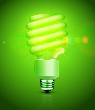 fluorescent: Vector illustration of classy energy saving compact fluorescent lightbulb on a green background