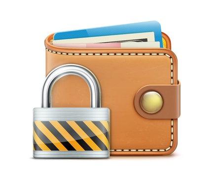 pad lock: Vector illustration of security concept with realistic closed wallet and locked pad lock Illustration