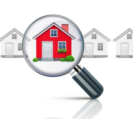 Vector ilustración de concepto inmobiliario con lupa y su casa de ensueño