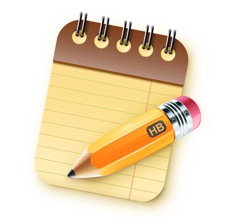 raton: Ilustraci�n vectorial de un l�piz afilado grasa amarilla con el cuaderno espiral envolvente Vectores