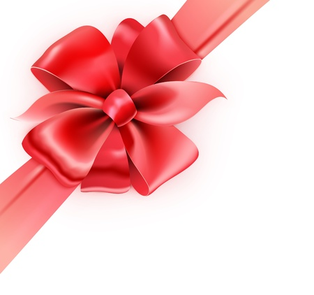 illustration of gift wrapped white paper with a red ribbon and classic bow