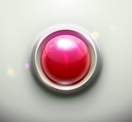 panic button: illustration of shiny red emergency button Illustration