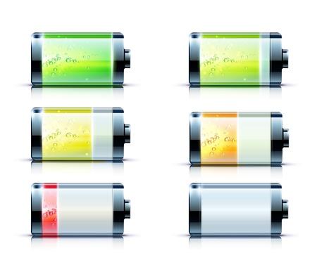 illustration of detailed glossy battery level indicator icons