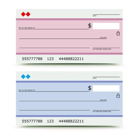 check icon: Ilustraci�n vectorial de cheque bancario en dos variantes - de color rosa y azul