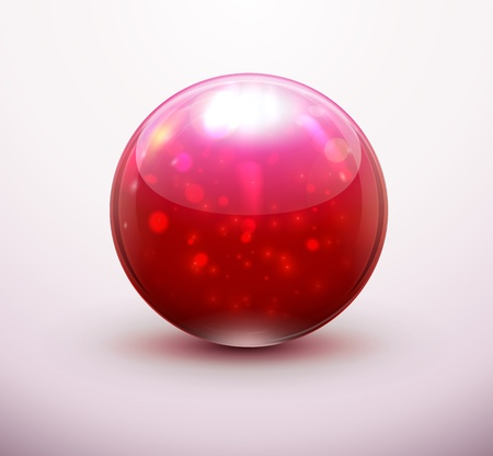 refracting: Vector illustration of red refracting Glass marblesbutton sphere  Illustration