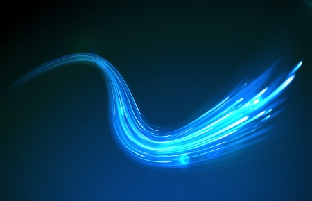 neon:  blue abstract background with blurred magic neon light curved lines