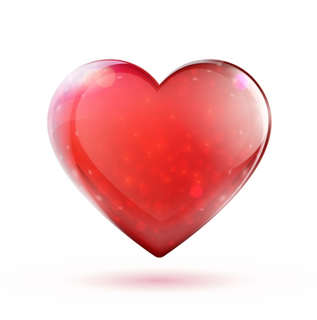 glass heart:  beautiful red glossy heart shape