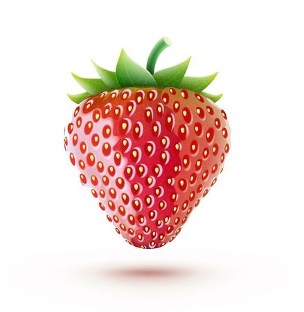 cartoon strawberry:  beautiful ripe red fresh strawberry isolated on white background Illustration