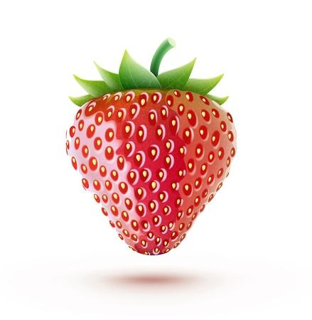 frutilla: hermoso maduro fresa roja fresca aislada en el fondo blanco