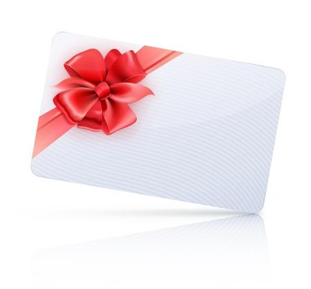 verziert Geschenk-Karte mit roten Bändern und Bogen