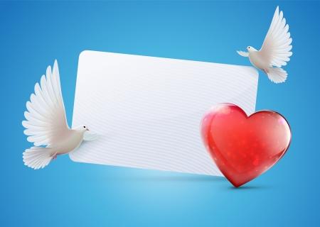 두 아름 다운 반짝이 흰색 비둘기와 심장 모양의 인사말 카드