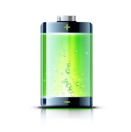 baterii: Ilustracja szczegółowe błyszczącego ikony baterii pełnego wskaźnika poziomu Ilustracja