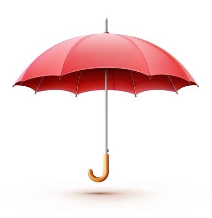 lluvia paraguas: Ilustración vectorial de clásico elegante paraguas rojo abierto aislado sobre fondo blanco.