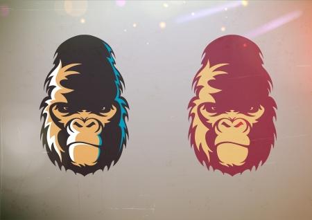 gorila: Ilustración vectorial de dibujos animados diversión estilizado rostro gorila sonrisa en dos variaciones de color