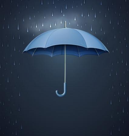 Vector illustratie van koele enkele weericoon - elegante geopende paraplu met zware val regen in de donkere hemel Vector Illustratie